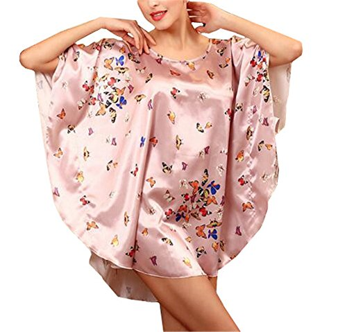 Notte da Scivoloso Maniche Vestito Donna Floreale da da Stampa Camicia Notte Femminili Abito Corta a Vestito Pink2 BESTHOO Notte Sleepwear da Pigiama Pipistrello fPZq7FF