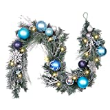 Valery Madelyn 6 Feet Silver Blue Artificial Spruce Garland for Wedding Party Garden Office Wall Decoration, Shatterproof Ornaments Included, Battery Operated 20 LED Lights