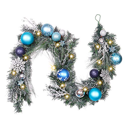 Valery Madelyn Pre-Lit 6 Feet Winter Wishes Blue Silver Christmas Garland with Artificial Greenery Frosted Spruce, Christmas Ball Ornaments and Snowflake, Battery Operated 20 LED Lights (Wedding Turquoise Silver And Centerpieces)