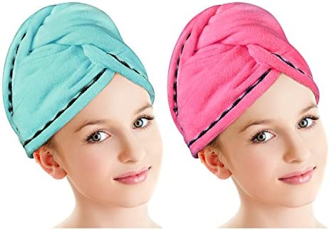 87d33f38f6f Luxspire 2 Pack Microfiber Hair Drying Towels Wrap Turban, Fast Drying Hair  Cap, Bath
