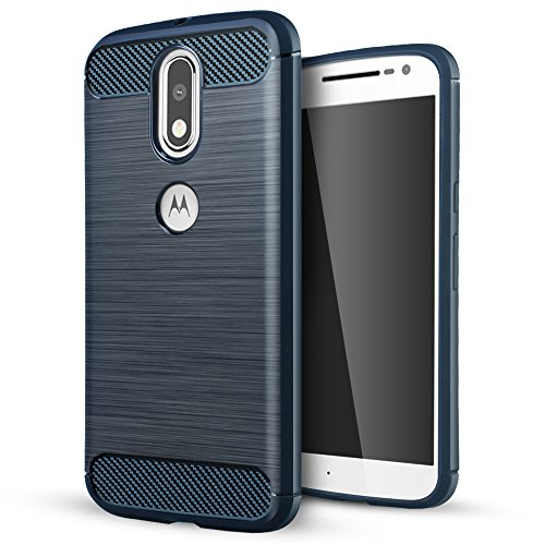 Moto G4/G4 Plus case,Lizimandu TPU Soft Shockproof Rugged Case for Moto G4/G4 Plus(Drak Blue)