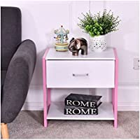 MD Group End Table Pink Nightstand Stable Durable Light-weight MDF with Open Shelf Home Furniture