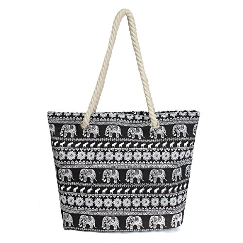 Bag Print Fabric (Nawoshow Canvas Fabric Elephant Pattern Beach Bag Rope Handle Tote Bag Handbag For Women)