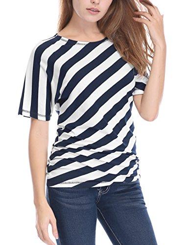 Allegra K Women's Striped Shirred Sides Short Batwing Sleeves Top XL Blue (Shorts Spandex Striped)