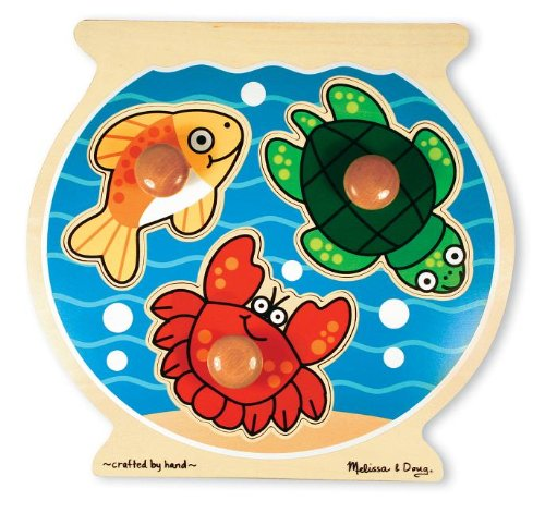 Melissa & Doug Fish Bowl Jumbo Knob Wooden Puzzle (Kids Puzzles With Knobs)
