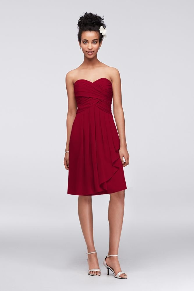 04f14334d04f Short Crinkle Chiffon Bridesmaid Dress with Front Cascade Style F14847,  Apple, 8