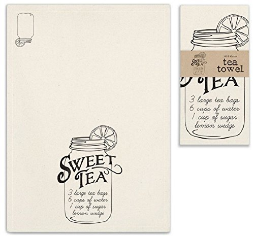 SWEET TEA Mason Jar Kitchen Tea Towel by CTW Home Collection - Black on Natural -