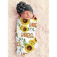 Baby Girl Sunflower Blanket Personalized Baby Blanket Personalized Swaddle Blanket Baby Girl Receiving Blanket Monogram Flower Blanket