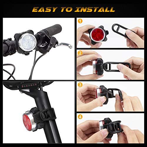 Luci per Bicicletta LED Ricaricabile USB - Luce Anteriore e Posteriore Luci MTB Impermeabile 4 modalità di Luminosità 350LM Super Luminoso Set Luci Bici Avvertimento per Bicicletta Strada e Montagna