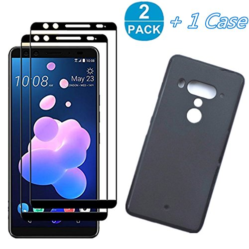 for HTC U12 Plus Screen Protector with Soft Case (1 Set) - 2Pack Full Cover Screen Protector Tempered Glass + Black Soft Case For HTC U12 Plus HTC U12+ -