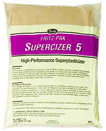 Cheap  Fritz-Pak Concrete Superplasticizer Additive, 2.4lbs. Cement Water Reducer Improves Workability And Strength...