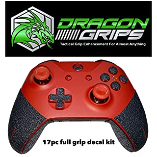 Dragon Grips xbox one controller grips rubberized grip wrap skins for xbox controller, xbox one controller grip, xbox elite controller complete 15 piece grip set including triggers, buttons, d-pad