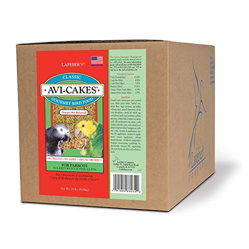 - LAFEBER'S Classic Avi-Cakes Pet Bird Food, Made with Non-GMO and Human-Grade Ingredients, for Parrots, 20 lbs