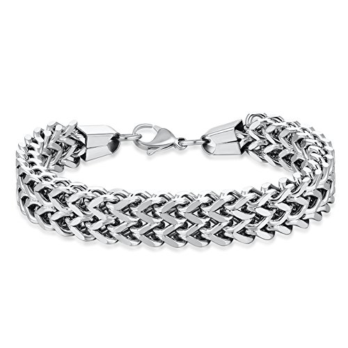 WIBERN 12MM Wide Silver Tone Double Strand Curb Chain Link Bracelet for Men Women Stainless Steel Link, 8.0-8.6'' (Silver, 8.6)