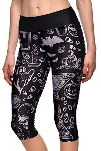 COCOLEGGINGS Ladys Halloween Graffiti Print Gym Yoga Leggings Cropped Pants XL