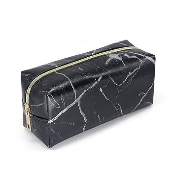 39013eee8f37 Amazon.com   Makeup Bag Organizer Travel Cosmetic Bag Makeup Brush Storage Case  Marble Pattern Pencil Pouch Pen Case Small Gold Zipper Handbag Purse for ...