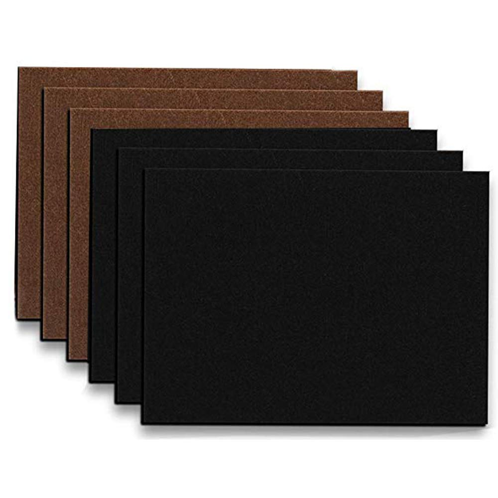 Lovelye Very Large&Thick Self Adhesive Furniture Felt Pads (6 Piece) 8.26''x11.8''x1/5''Felt Sheets DIY Shape Furniture Rectangle Chair,Table Leg to Protect Hardwood Floors (Brown+Black)