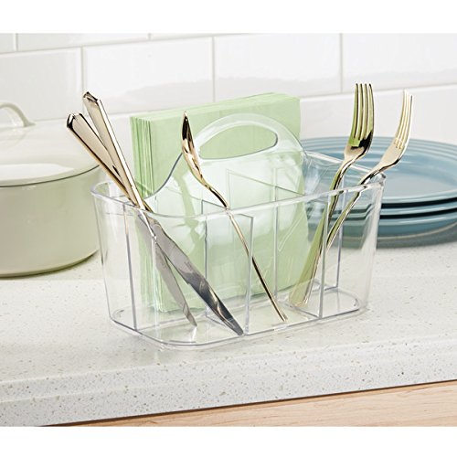 mDesign Plastic Cutlery Storage Organizer Caddy Bin - Tote with Handle - Kitchen Cabinet or Pantry - Basket Organizer for Forks, Knives, Spoons, Napkins - Indoor or Outdoor Use - 4 Pack, Clear