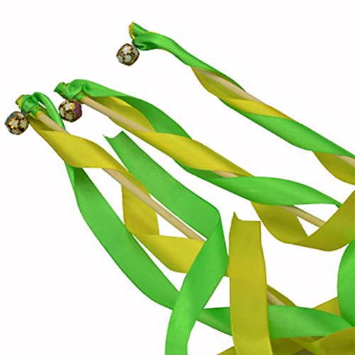 Hangnuo Pack of 30 Wedding Christmas Birthday Party Silk Lace Ribbon With Bells Streamers Wands Fairy Stick Yellow&Green (Yellow Christmas Ribbon)