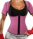 Cheap Gotoly Neoprene Sauna Vest With Sleeves Hot Sweat Exercise Fitness Bodysuit (M Fit 33.8-37.0 Inch Waistline, Pink)