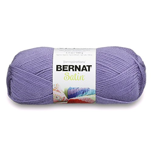 Bernat 16410404309 Satin Solid Yarn (4) Medium Worsted Gauge 100% Acrylic - 3.5oz -   Lavender  -  Machine Wash & Dry ()