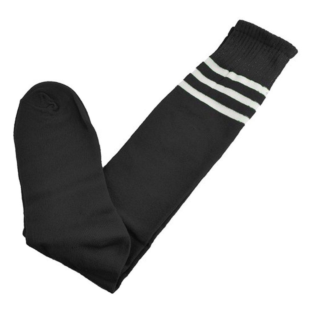 Sealikeクラシックストライプ高膝Football Soccerチューブソックス B016T93ESU ブラック ブラック