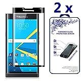 [2-PACK] Nacodex 3D Full Cover Tempered Glass Screen Protector for BlackBerry Priv - Black