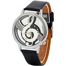 Sannysis Watches Note Music Notation Leather Quartz Wristwatch Black