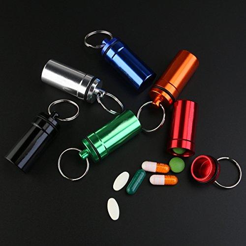 WINOMO 6 piezas Pastillero Píldoras Llavero Caja Botella Contenedor De Aluminio Impermeable 3