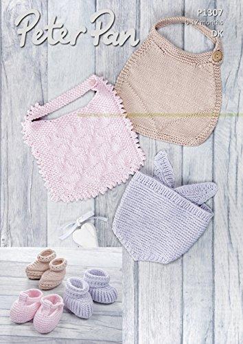 Peter Pan Baby Bibs & Bootees Baby Cotton Knitting Pattern 1307 DK