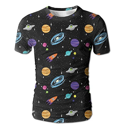 (VN HNGD Planet Space and Galaxy Bild Men's Casual Short Sleeve T-Shirts Top)