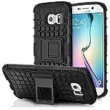 Galaxy S6 Edge Holster Case, Fosmon HYBO-RAGGED [Hybrid | Kickstand] Rugged Heavy Duty Shock Proof Case for Samsung Galaxy S6 Edge (Black/Black)