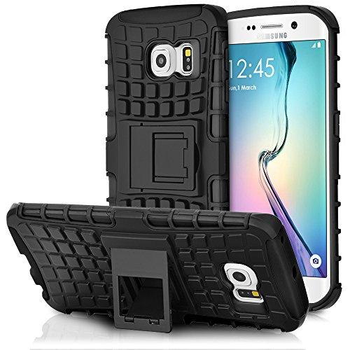 Galaxy S6 Edge Holster Case, Fosmon HYBO-RAGGED [Hybrid | Kickstand] Rugged Heavy Duty Shock Proof Case for Samsung Galaxy S6 Edge (Black/Black) - Fosmon Carrying Case