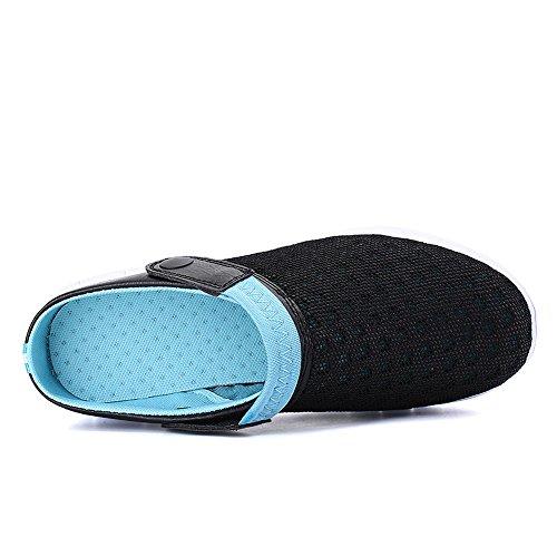 Infradito Pantofole Mare Scarpe blu Uomo Doccia Scarpette Rete Sabot da Spiaggia Antiscivolo Mesh Tessuto da Zoccoli Donna da Ciabatte Nero Sandali Yooeen Beach Traspirante paRpx