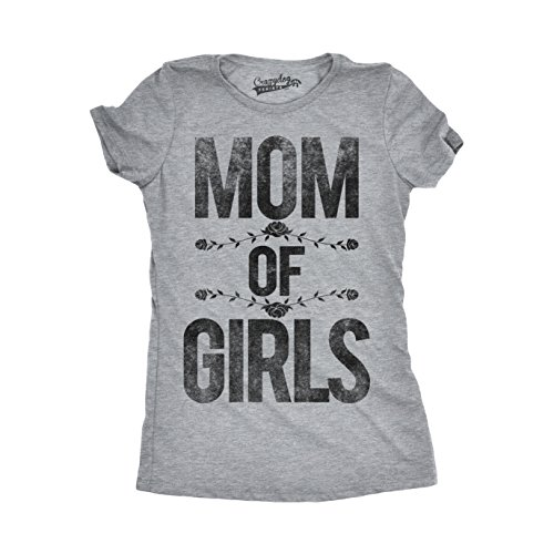 Crazy Dog TShirts - Womens Mom of Girls Funny Proud Mothers Day Gift I Love My Daughters - Camiseta Para Mujer gris