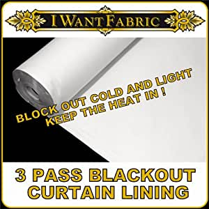 CRISP WHITE COTTON THERMAL CURTAIN BLIND LINING 3 PASS FULL BLACKOUT REVERSIBLE FABRIC SOLD BY THE METRE WIDTH 135CM by QUICKFABRICS