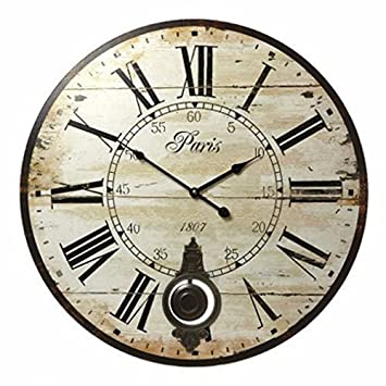 horloge murale paris ronde vintage france paris colore. Black Bedroom Furniture Sets. Home Design Ideas