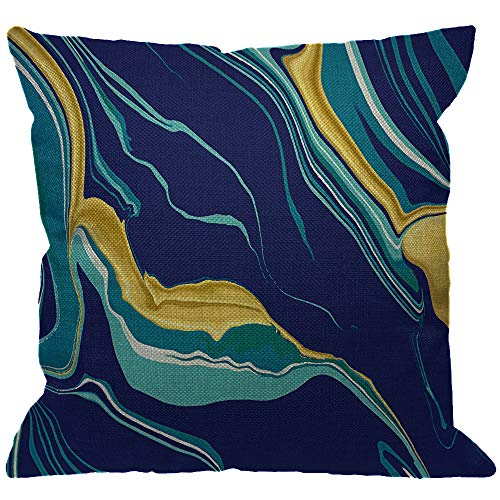HGOD DESIGNS Marble Texture Throw Pillow Cover,Yellow Blue Green Golden Fluid Marble Hipster Ink Luxury Elegant Colorful Decorative Pillow Cases Square Cushion Covers for Home Sofa Couch 18x18 inch (Golden Yellow Green)