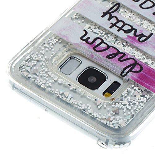 Trumpshop Smartphone Carcasa Funda Protección para Samsung Galaxy S8+ / S8 Plus (6,2 Pulgada) [Smile] TPU 3D Liquido Dinámica Sparkle Estrellas Quicksand Caja Protectora A Pretty Dream