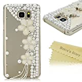 Note 5 Case, Galaxy Note 5 Case - Mavis's Diary 3D Handmade Bling Crystal White Flowers Tassel with Pearls and Shiny Diamond Clear Cover Hard PC Case for Samsung Galaxy Note 5 & Clean Cloth