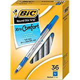 BIC Round Stic Grip/GSMG361-BLU  Round Stic Grip Xtra Comfort Ball Pen, Medium Point (1.2 mm), Blue, 36-Count