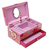 SONGMICS Ballerina Music Jewelry Box Swan Lake Tune Pink UJMC002