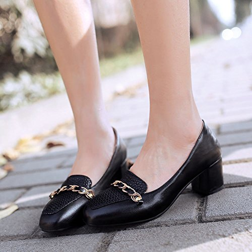Charme Pied Femmes Mode Chunky Talon Travail Quotidien Chaussures Noir