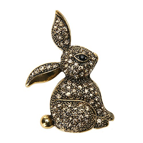 Vintage Bunny Brooch - 1 Piece Retro Vintage Rabbit Bunny Brooch Pins for Women Steampunk Alloy 25x40mm - Chanel Rhinestone Eyeglasses