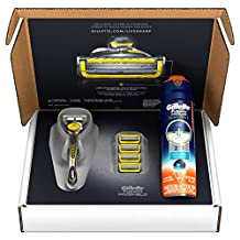Gillette Fusion ProShield Bundle With 4 ProShield Razor Blade Refills + 1 ProShield Handle with FlexBall Technology + ProGlide Sensitive Shave Gel 6oz, 1 kit