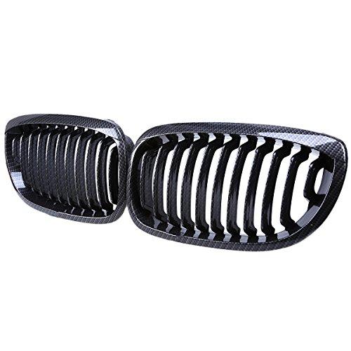 (Car Grilles,POSSBAY 2Pcs Front Kidney Grill Replacement Carbon Fiber Color for BMW 3 Series E46 Cabrio 2003-2006 Facelift)