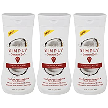 Summer's Eve Simply Cleansing Wash, Coconut Water, pH Balanced, Free from Harsh Chemicals and Dyes, 12 Fl Oz, Pack of 3