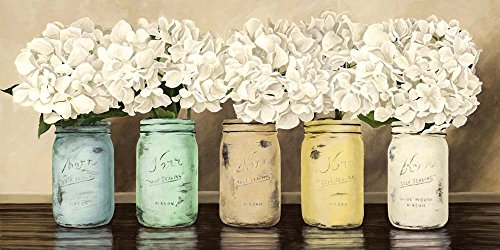 Great Art Now Hydrangeas in Mason Jars by Jenny Thomlinson