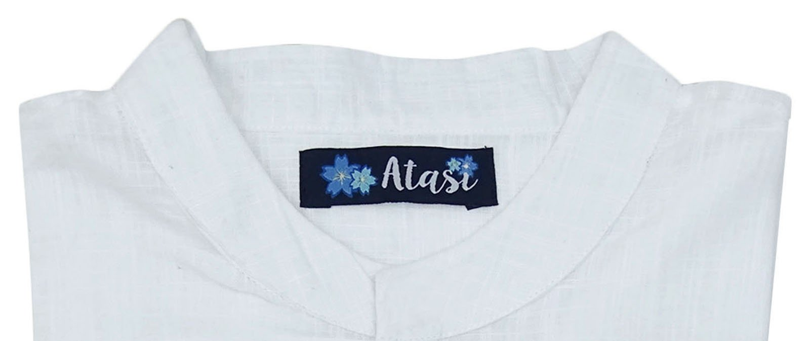 Atasi Men's Band Collar Short Kurta White Cotton Casual Tunic Shirt-Large by Atasi (Image #6)