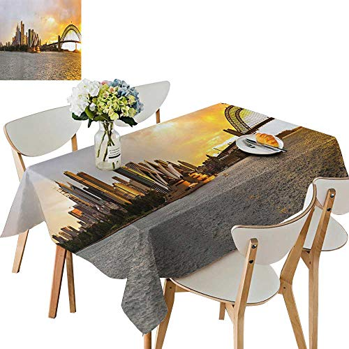 (UHOO2018 Square/Rectangle Polyester Tablecloth Table Cover Sydney Harbor Panorama for Dining Room,52 x 716inch)
